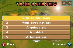Menu screen of the game Paws & Claws - Pet Vet on Nintendo GameBoy Advance