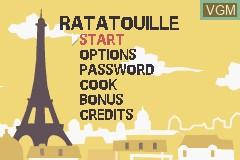 Menu screen of the game Ratatouille on Nintendo GameBoy Advance