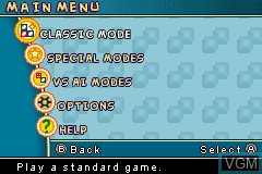 Menu screen of the game Uno Free Fall on Nintendo GameBoy Advance