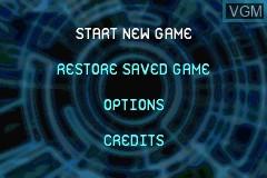 Menu screen of the game Ace Lightning on Nintendo GameBoy Advance