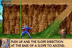 In-game screen of the game Revenge of Shinobi, The on Nintendo GameBoy Advance