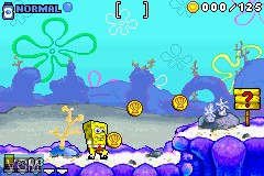 In-game screen of the game 2 Games in 1 - SpongeBob SquarePants - SuperSponge & Revenge of the Flying Dutchman on Nintendo GameBoy Advance