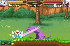 In-game screen of the game Tiny Toon Adventures - Buster's Bad Dream on Nintendo GameBoy Advance