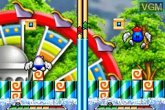 In-game screen of the game Egg Mania - Tsukande! Mawashite! Dossun Puzzle!! on Nintendo GameBoy Advance