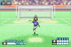 In-game screen of the game International Superstar Soccer Advance on Nintendo GameBoy Advance