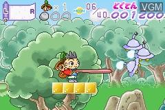 In-game screen of the game Ojaru Maru - Tsuki Hikari Machi Tour de Ojaru on Nintendo GameBoy Advance