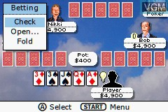 In-game screen of the game Ultimate Card Games on Nintendo GameBoy Advance