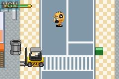 In-game screen of the game Zettaizetsumei Dangerous Jiisan Tsuu - Ikari no Oshioki Blues on Nintendo GameBoy Advance