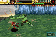 In-game screen of the game Advance Guardian Heroes on Nintendo GameBoy Advance
