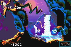 In-game screen of the game Earthworm Jim 2 on Nintendo GameBoy Advance