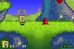 In-game screen of the game 2 Games in 1 - SpongeBob SquarePants - Revenge of the Flying Dutchman + SpongeBob SquarePants - SuperSponge on Nintendo GameBoy Advance