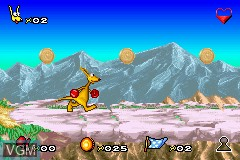 In-game screen of the game Kao the Kangaroo on Nintendo GameBoy Advance