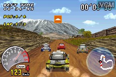 In-game screen of the game V-Rally 3 on Nintendo GameBoy Advance