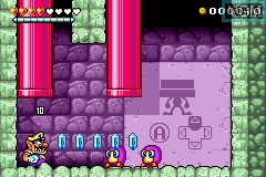 In-game screen of the game Wario Land 4 on Nintendo GameBoy Advance