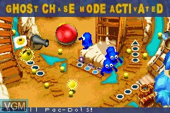 In-game screen of the game Pac-Man Pinball Advance on Nintendo GameBoy Advance