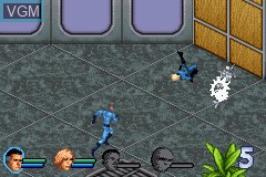 In-game screen of the game Fantastic 4 on Nintendo GameBoy Advance