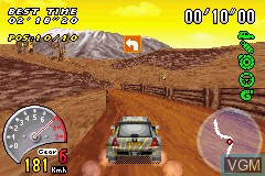 In-game screen of the game 2 in 1 - V-Rally 3 + Stuntman on Nintendo GameBoy Advance
