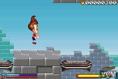 In-game screen of the game 2 Games in 1 - SpongeBob SquarePants - Battle for Bikini Bottom & Jimmy Neutron - Boy Genius on Nintendo GameBoy Advance