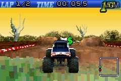 In-game screen of the game 2 Games in 1 - Quad Desert Fury + Monster Trucks on Nintendo GameBoy Advance
