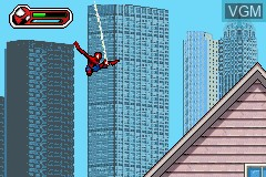 In-game screen of the game Ultimate Spider-Man on Nintendo GameBoy Advance