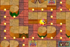 In-game screen of the game 2 Great Games! - Pac-Man World + Ms. Pac-Man - Maze Madness on Nintendo GameBoy Advance