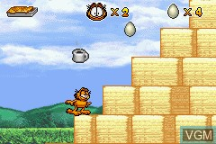 In-game screen of the game Garfield and His Nine Lives on Nintendo GameBoy Advance
