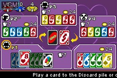 In-game screen of the game Uno 52 on Nintendo GameBoy Advance
