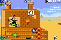 In-game screen of the game Agent Hugo - Roborumble on Nintendo GameBoy Advance