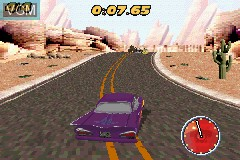 In-game screen of the game Cars - Mater-National Championship on Nintendo GameBoy Advance