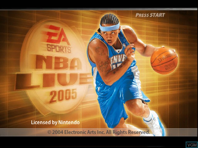 Title screen of the game NBA Live 2005 on Nintendo GameCube