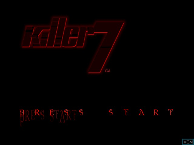Title screen of the game Killer 7 on Nintendo GameCube