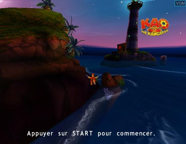 Title screen of the game Kao the Kangaroo - Round 2 on Nintendo GameCube