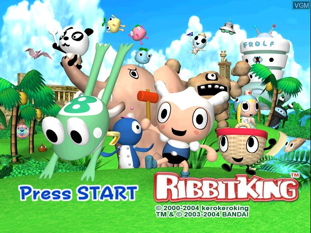 Title screen of the game Ribbit King on Nintendo GameCube