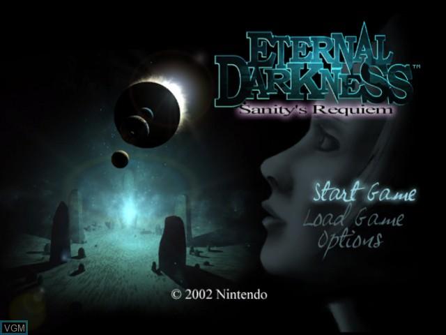 Title screen of the game Eternal Darkness - Sanity's Requiem on Nintendo GameCube
