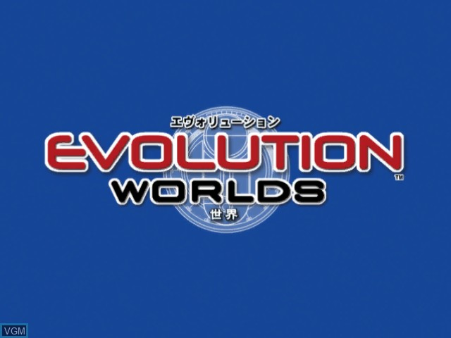 Title screen of the game Evolution Worlds on Nintendo GameCube