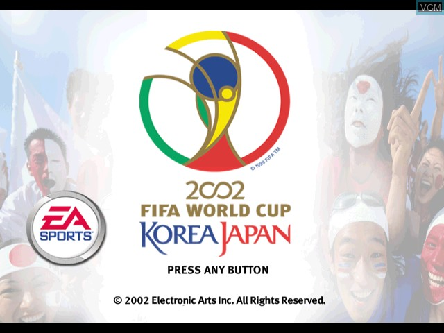 Title screen of the game 2002 FIFA World Cup Korea Japan on Nintendo GameCube