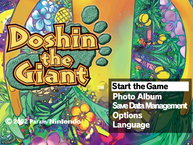 Title screen of the game Doshin the Giant on Nintendo GameCube