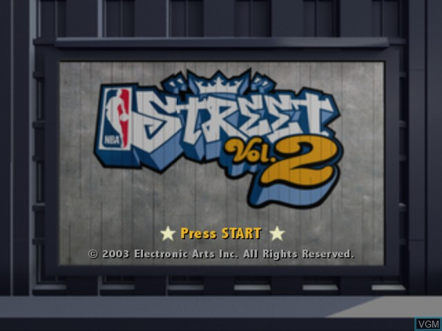 Title screen of the game NBA Street Vol. 2 on Nintendo GameCube