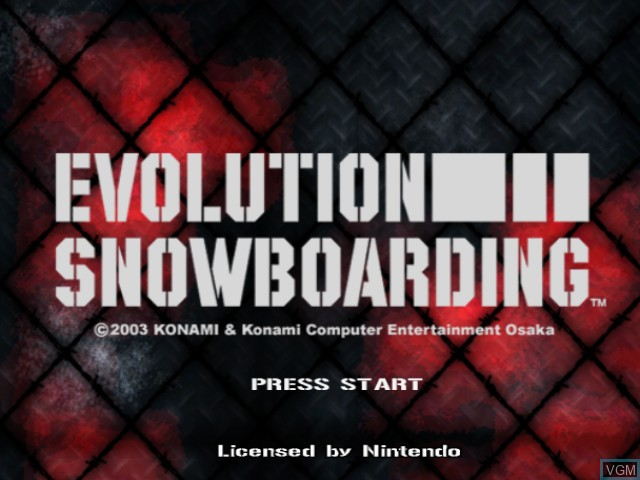 Title screen of the game Evolution Snowboarding on Nintendo GameCube