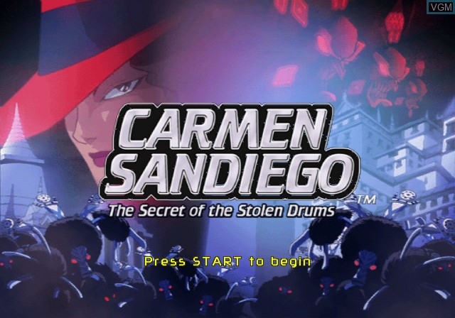 Title screen of the game Carmen Sandiego - The Secret of the Stolen Drums on Nintendo GameCube