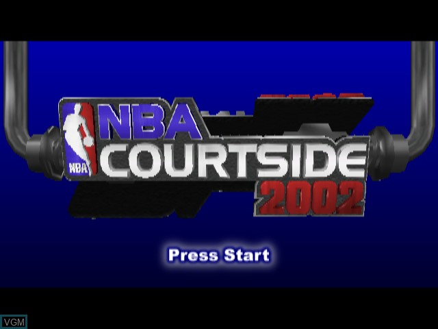 Title screen of the game NBA Courtside 2002 on Nintendo GameCube