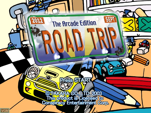 Title screen of the game Road Trip - The Arcade Edition on Nintendo GameCube