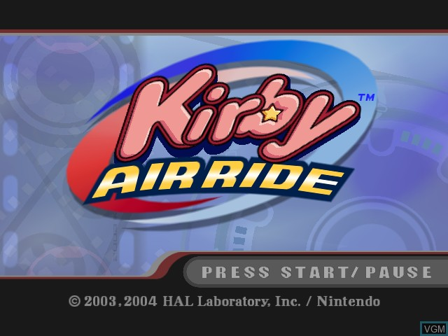 Title screen of the game Kirby Air Ride on Nintendo GameCube