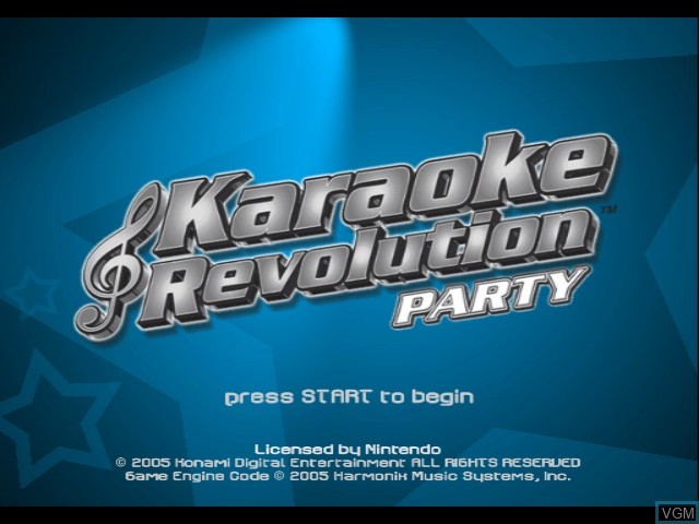 Title screen of the game Karaoke Revolution Party on Nintendo GameCube