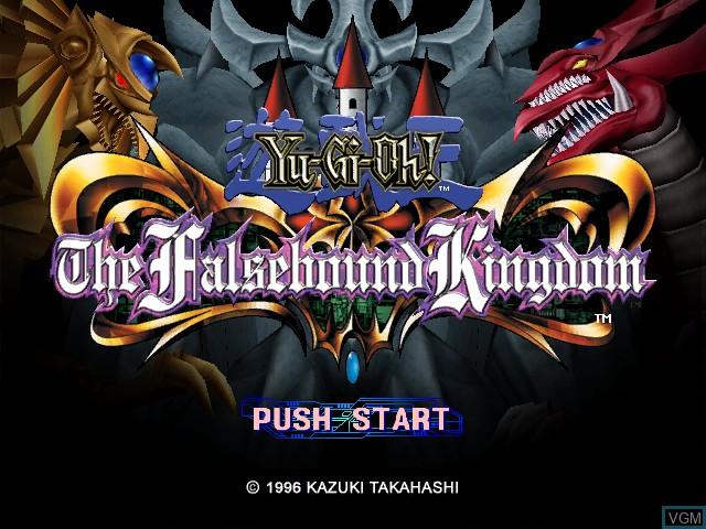 Title screen of the game Yu-Gi-Oh! The Falsebound Kingdom on Nintendo GameCube