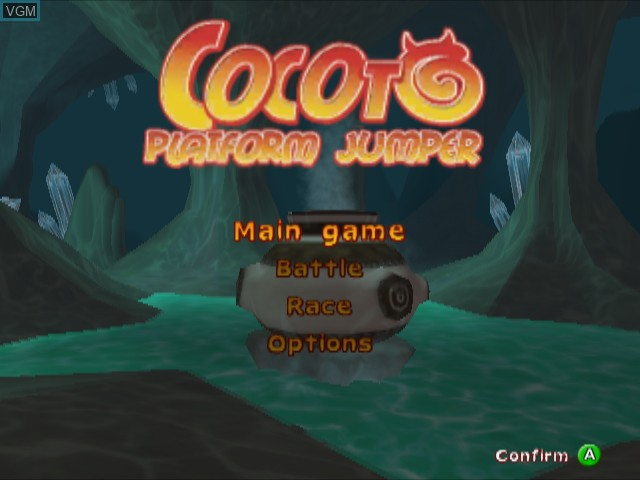 Title screen of the game Cocoto Platform Jumper on Nintendo GameCube