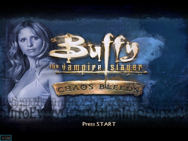 Title screen of the game Buffy the Vampire Slayer - Chaos Bleeds on Nintendo GameCube