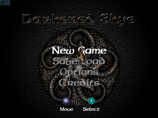 Title screen of the game Darkened Skye on Nintendo GameCube