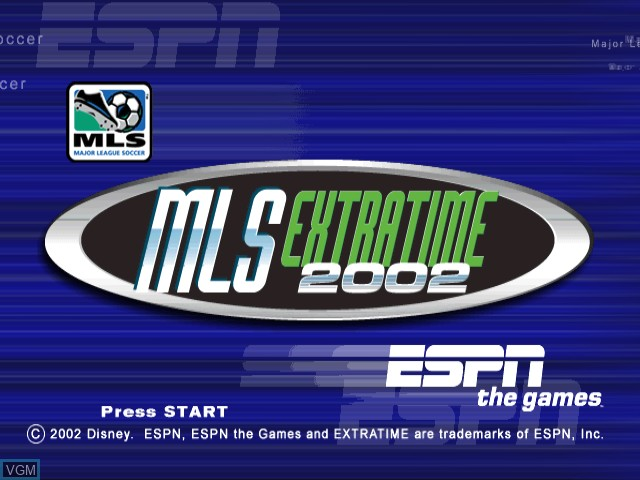 Title screen of the game ESPN MLS ExtraTime 2002 on Nintendo GameCube