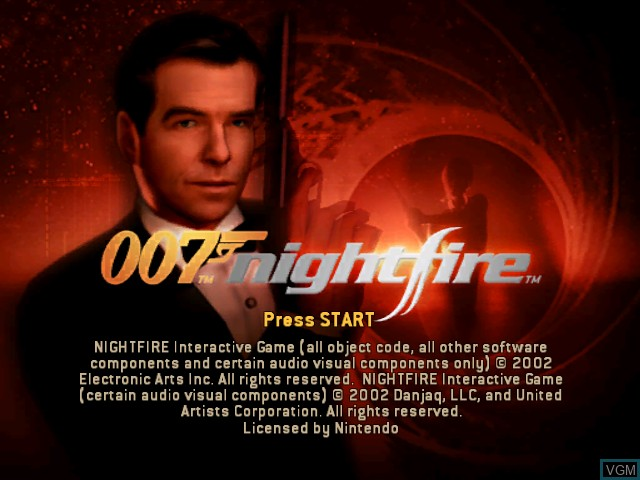Title screen of the game 007 - Nightfire on Nintendo GameCube